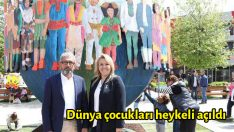 Dünya çocukları heykeli açıldı