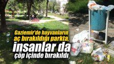 Gaziemir'de hayvanların aç bırakıldığı parkta, insanlar da çöp içinde bırakıldı