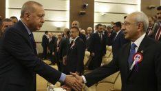 Cumhurbaşkanı Erdoğan ile CHP lideri Kılıçdaroğlu, AYM töreninde buluştu