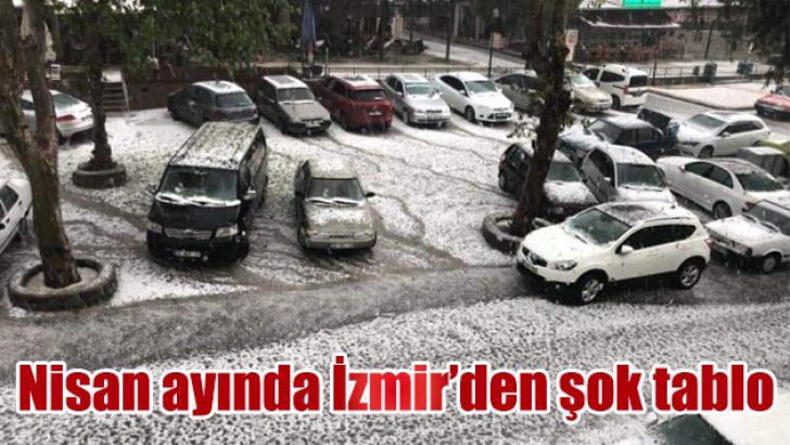 Tire'de kar gibi dolu yağışı